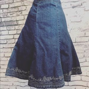 New York & Company Skirts - New York & Company Embroidered Denim Flare Skirt